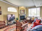 Living Room-Fireplace, Large HD TV and every pay cable channel.
