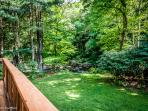 Large back deck overlooks the Savage River