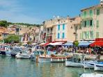 The picturesque fishing port, beaches and calanques of Cassis is 1.5 hours drive away