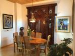 Beautiful hand carved Bali door added to enhance the art in the Villa