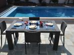 Outside dining and pool