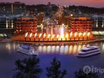 Branson Landing and the fountains at night