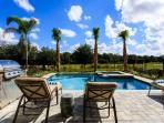 Private pool/jacuzzi and bbq area overlooking the golf course