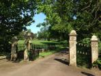 The gates to Kinloss Estate.