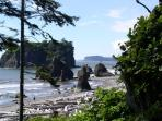 Visit Ruby Beach!  Just one of the stunning seaside vistas lining the Peninsula's west coast.