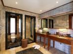 Master bedroom bathroom with twin basins