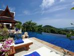 Pool terrace and infinity edge pool