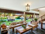 An open space living of Villa M Bali Seminyak is set downstairs