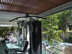 Many amenities including fully equipped gym at Tao Wellness Center.