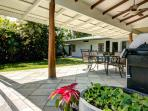 a big sheltered lanai for  dining and lounging.