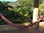 Relax upstairs in hammocks