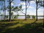 Picnic area at Lake Maraboon overlooking Fairbairn Dam