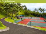 2 hard courts plus 2 grass courts lower level to beach