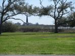 Backyard with view of the lighthouse and Horseshoe Lake.
