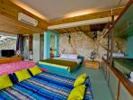 bedroom 4 has 4 single beds for kids plus king size bed. (room 8m x 4.5)