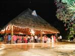 110 guests all under the giant palapa
