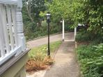 Up the garden path to JILLS LOFT spiral staircase !