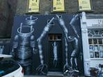 Examples of street art are visible on every corner in London's trendy East End
