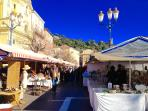 Cours Saleya (daily all year round Flower and Farmers market) Nice Old Town. Antique Market Mondays.