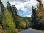 Autumn drive into Ptarmigan Village, a half mile from Cedar Grove