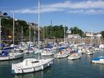 Saundersfoot harbour with trips leaving daily in the summer months