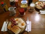 Sunny Side Up Eggs & Pierogies With Kielbasa