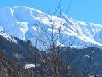 Vue sur la chaine du Mont-blanc de l'appartement (en hiver)
