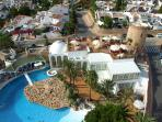 Ariel view if swimming pool and restaurant