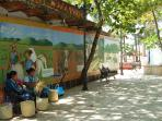 The history of San Pancho in the beach plaza murals