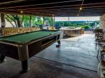 Covered Pavilion with Billiard Table and 55 inch Outdoor TV to watch the game