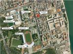 Vista aérea da localização do Apartamento em Vila Real de Santo António