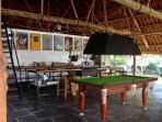 pool table and kitchen