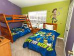 The kids will love out Toy Story Themed bedroom and bath room and bunk Beds!