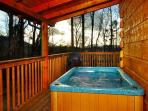 Private hot tub on back covered porch, total privacy