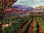 painted view of Redlands 'R' mountain and orange groves by GretchenArt