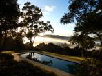Morning Glory by the Pool and Misty Fogs all Around at Riverbend Byron Hinterland Retreat