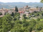 This is a view of the town from the mountain, you can see the bell tower and the house