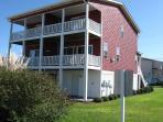 Three rear decks.  Bottom level, Living Room level, Master Bedroom level