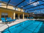 Pool deck offers plenty of seating for your family