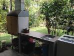 Informal kitchen Kalan and sink, washing machine