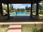 Seating beside pool
