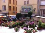 Pretty flower stall at Argeles Ville on market day
