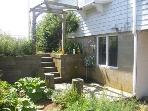 Side yard garden and outdoor shower