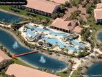 Apartment overlooks 600-foot, lazy river pool, moves at 3 mph. water 86F