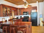 Kitche of Lower Palms Villa with Mahogany Cabinets