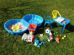 Kids can enjoy playing in the garden. We bought some toys just for them!