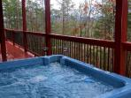 Relax in the 5 person hot tub located on the main level deck!