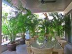 Spacious outdoor terrace with dining set