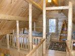 Birch Overlook Cabin - Second floor loft bedroom with 2 single beds