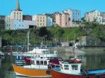 Boats in Tenby Harbour.